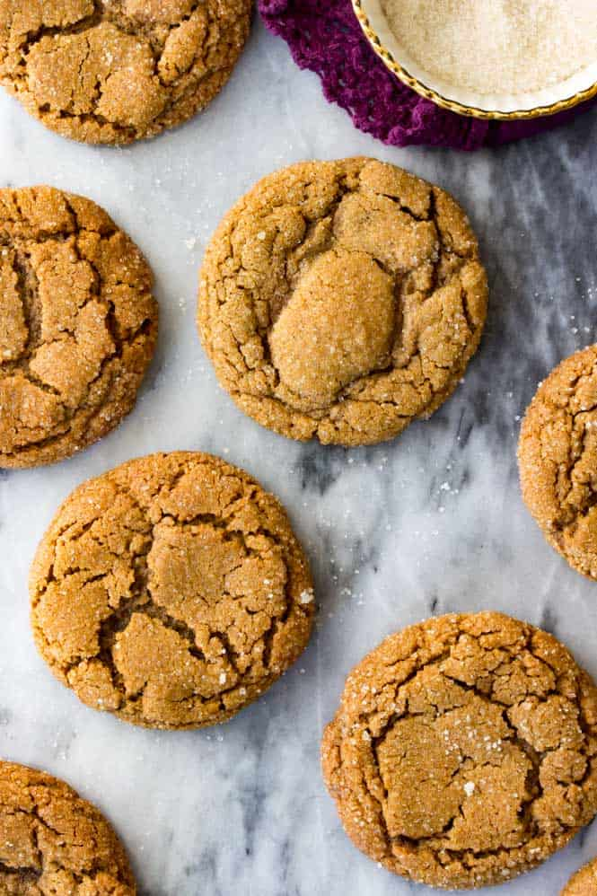 Molasses cookies covered in sugar