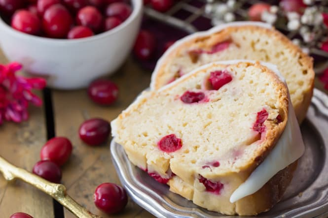 Two slices of cranberry bundt cake